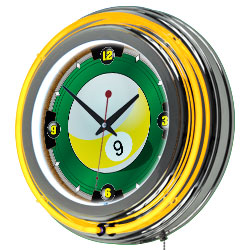 Rack'em 9 Ball 14-inch Neon Wall Clock